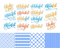 Oktoberfest stickers hand lettering, brush pen calligraphy inscriptions set. Colorful word Oktoberfest collection Stock Photo