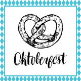 Oktoberfest symbol. Beer festival sign with hand sketched bagel. Bavarian pretzel drawing. Wiesn badge. Oktoberfest symbol. Beer festival sign with hand Royalty Free Stock Image