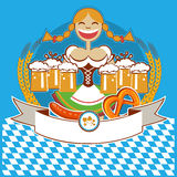 Oktoberfest symbol label with girl and beer.Vector Stock Photography