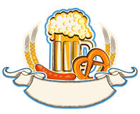 Oktoberfest symbol z piwem i tradycyjnym jedzeniem  Zdjęcia Stock