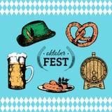 Oktoberfest symbols collection for beer festival flyer and poster. Vector hand sketched set of glass mug, pretzel etc. Stock Images