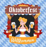 Oktoberfest sztandar z śmiesznym postać z kreskówki w wianku Zdjęcia Stock