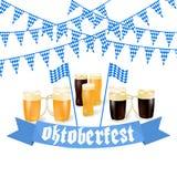 Oktoberfest sztandary w Bawarskim kolorze Lekki i ciemny piwo Uczta Bavaria biały i błękitny faborek Oktoberfest Fotografia Royalty Free