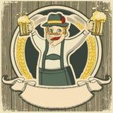 Oktoberfest. Tappningetikett med mannen och exponeringsglas av vektor illustrationer