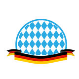 Oktoberfest template. Blue rhombuses and ribbon flag of Germany. Royalty Free Stock Photos