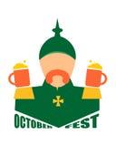 Oktoberfest text and German soldier. Oktoberfest word. German infantryman during the first world war. 19th century army uniform. Abstract simplicity portrait Royalty Free Stock Photo