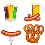 Oktoberfest Themes with Beer & Snack Royalty Free Stock Photos