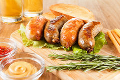 Oktoberfest traditional beer menu. Fried sausages with toast and mustard. Stock Photography