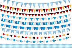 Oktoberfest uppsättning av flaggor, bunting, girland Oktober fest i den Tyskland samlingen av designbeståndsdelar På white stock illustrationer