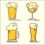 Oktoberfest Ustawiający płaskiego piwa ikony Piwna butelka, szkło, pół kwarty Wektorowa płaska ilustracja Prosty set piwne ikony  ilustracji
