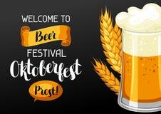 Oktoberfest välkomnande till ölfestivalen Inbjudanreklamblad eller affisch för festmåltid Fotografering för Bildbyråer