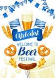 Oktoberfest välkomnande till ölfestivalen Inbjudanreklamblad eller affisch för festmåltid Arkivbild