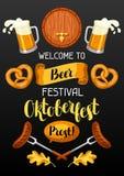 Oktoberfest välkomnande till ölfestivalen Inbjudanreklamblad eller affisch för festmåltid stock illustrationer