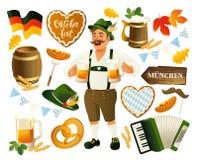 Oktoberfest vastgestelde vectordieillustratie op een witte achtergrond wordt geïsoleerd Royalty-vrije Stock Afbeeldingen