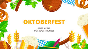 Oktoberfest vector background design. Octoberfest holiday banner Stock Photos