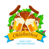 Oktoberfest vector background design. Octoberfest holiday banner Stock Photography