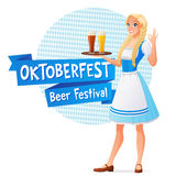 Oktoberfest vector banner. Beautiful woman in traditional dress holding tray with light and dark beer and shows OK sign Royalty Free Stock Image