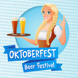 Oktoberfest vector card. Cute girl in national German outfit holding tray with light and dark beer and shows OK sign. Oktoberfest card. Cute girl in national Royalty Free Stock Photos