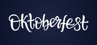 Oktoberfest - vector hand drawn brush pen lettering. Design image. Dark blue background. Use this high quality calligraphy for your banners, flyers, greeting Royalty Free Stock Images