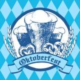 Oktoberfest vector illustration. Beer glasses, pretzels, gingerb Royalty Free Stock Photo