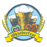 Oktoberfest vector illustration. Beer glasses, pretzels, gingerb Stock Images
