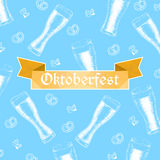 Oktoberfest vector illustration. Beer glasses, pretzels and hop Stock Image