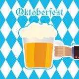 Oktoberfest vector illustration with beer mug, blue rhombus patt Royalty Free Stock Photography