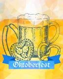 Oktoberfest vector illustration. Beer mug, pretzel, sausages and Royalty Free Stock Photo