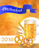 Oktoberfest vector illustration. Beer mug, pretzels and cereal e Royalty Free Stock Photos