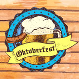 Oktoberfest vector illustration with beer mug, sausage, rhombus Royalty Free Stock Photography