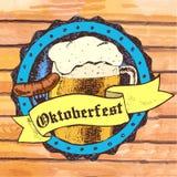Oktoberfest vector illustration with beer mug, sausage, rhombus. Oktoberfest vector illustration with beer mug and sausage on fork in big bottle cap. Blue Royalty Free Stock Photography