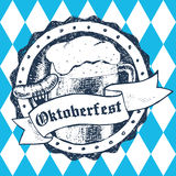 Oktoberfest vector illustration with beer mug, sausage, rhombus Stock Photo