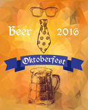 Oktoberfest vector illustration. Beer mug, tie and eyeglasses Royalty Free Stock Images