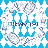 Oktoberfest vector illustration. Beer mugs, barrels, sausages, p Royalty Free Stock Images
