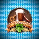 Oktoberfest vector illustration with fresh dark beer on blue white background. Celebration banner for traditional German beer fest. Ival stock illustration