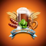 Oktoberfest vector illustration with fresh dark beer on orange background. Celebration banner for traditional German beer festival.  Royalty Free Stock Photo