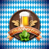 Oktoberfest vector illustration with fresh lager beer on blue white background. Celebration banner for traditional German beer fes Royalty Free Stock Photos