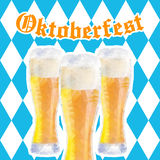 Oktoberfest vector illustration with three glasses of beer Royalty Free Stock Image