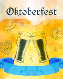 Oktoberfest vector illustration. Two beer glasses, pretzel, saus Royalty Free Stock Images