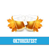 Oktoberfest vector illustration. Two beer mugs on the white back Stock Photo