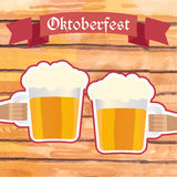 Oktoberfest vector illustration. Two men with beer mugs clinking Royalty Free Stock Photo