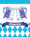 Oktoberfest vector illustration with two mugs of beer Royalty Free Stock Photography