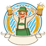 Oktoberfest .Vector label with man and glasses of  Stock Photo