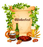 Oktoberfest vector poster of beer snacks. Oktoberfest beer and snacks poster. Vector design craft or draught beer in glass or bottle, hop branch wines and wheat Stock Images