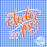 2017 Oktoberfest vector poster with traditional pattern. Hand lettering, brush pen calligraphy inscription for banners Stock Photos