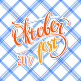 2017 Oktoberfest vector poster with traditional pattern. Hand lettering, brush pen calligraphy inscription for banners Royalty Free Stock Image
