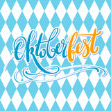 Oktoberfest vector poster with traditional pattern. Hand lettering, brush pen calligraphy inscription for banners and Stock Photography