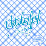 Oktoberfest vector poster with traditional pattern. Hand lettering, brush pen calligraphy inscription for banners and Stock Image