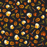 Oktoberfest vector seamless pattern background design. Octoberfe Royalty Free Stock Photography