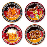 Oktoberfest vector set of drink coasters. stock illustration